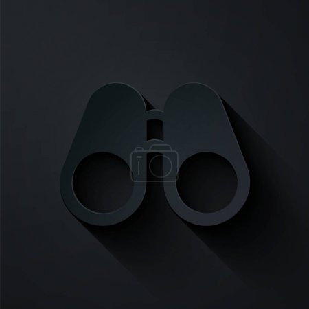 Illustration for Paper cut Binoculars icon isolated on black background. Find software sign. Spy equipment symbol. Paper art style. Vector Illustration - Royalty Free Image