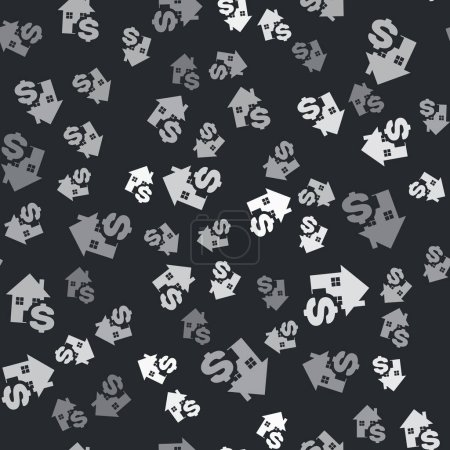 Illustration for Grey House with dollar symbol icon isolated seamless pattern on black background. Home and money. Real estate concept. Vector Illustration - Royalty Free Image