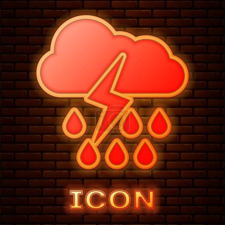 Illustration for Glowing neon Cloud with rain and lightning icon isolated on brick wall background. Rain cloud precipitation with rain drops.Weather icon of storm. Vector Illustration - Royalty Free Image