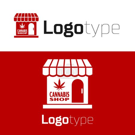 Illustration for Red Marijuana and cannabis store icon isolated on white background. Equipment and accessories for smoking, storing medical cannabis. Logo design template element. Vector Illustration - Royalty Free Image