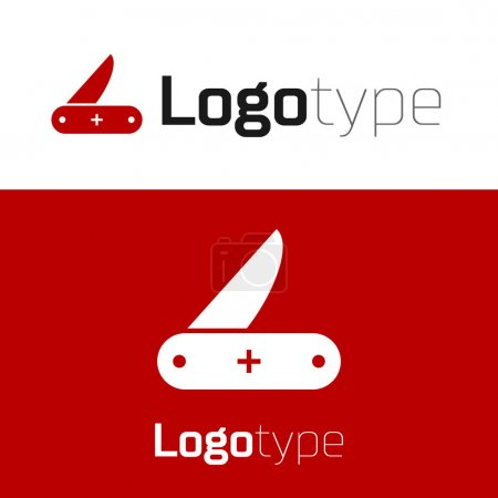 Illustration for Red Swiss army knife icon isolated on white background. Multi-tool, multipurpose penknife. Multifunctional tool. Logo design template element. Vector Illustration - Royalty Free Image