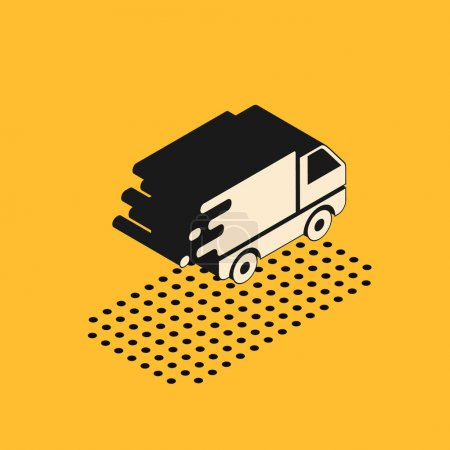 Illustration for Isometric Delivery truck in movement icon isolated on yellow background. Fast shipping delivery truck.  Vector Illustration - Royalty Free Image