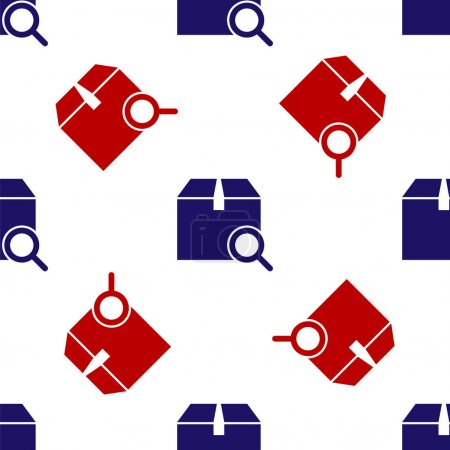 Illustration for Blue and red Search package icon isolated seamless pattern on white background. Parcel tracking symbol. Magnifying glass and cardboard box. Logistic and delivery. Vector Illustration - Royalty Free Image
