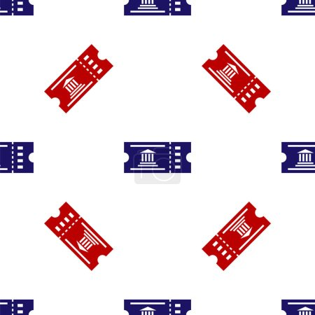 Illustration for Blue and red Museum ticket icon isolated seamless pattern on white background. History museum ticket coupon event admit exhibition excursion. Vector Illustration - Royalty Free Image