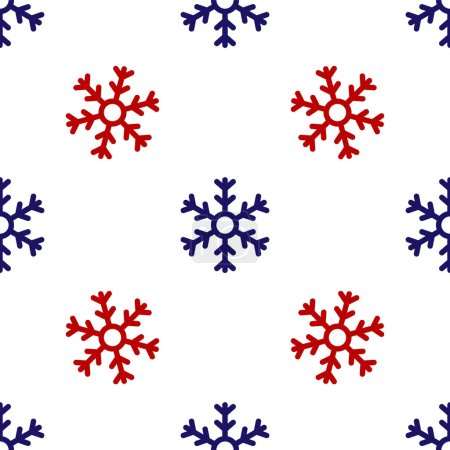 Illustration for Blue and red Snowflake icon isolated seamless pattern on white background. Vector Illustration - Royalty Free Image