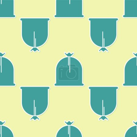 Green Pirate sack icon isolated seamless pattern o...