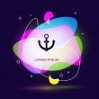 Black Anchor icon isolated on blue background. Abs...