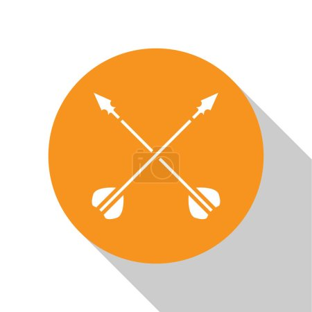 Illustration for White Medieval crossed arrows icon isolated on white background. Medieval weapon. Orange circle button. Vector Illustration - Royalty Free Image