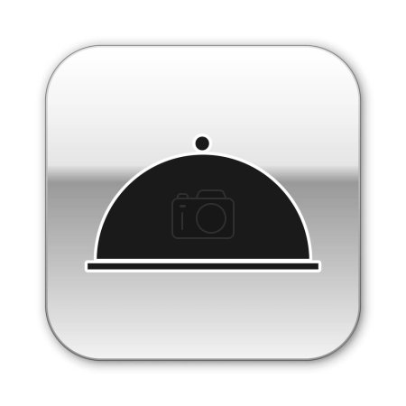 Black Covered with a tray of food icon isolated on...