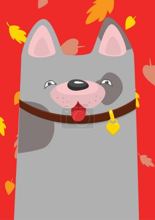 A mongrel in the collar under the autumn leaf fall