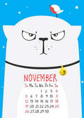thick cute gray cat wearing a collar with a little bird on the head on a blue background November calendar