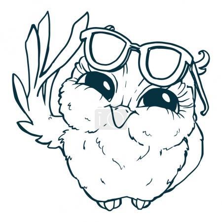 Cartoon Pretty owl in sunglasses