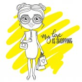 Cute girl in glasses with shopping packs Inscription: my love is shopping Hand-drawn contour for children coloring