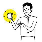 Man holding and showing a smartphone Situation illustration Vector isolated drawing