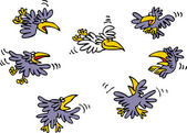Funny humorous sketch depicting how many black crows make fun of only white crow in sky Vector cartoon illustration