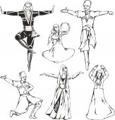 Caucasian highlander dancers in national costumes