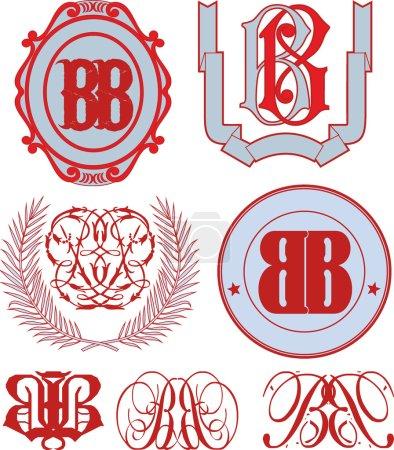 Illustration pour Ensemble de monogrammes BB et modèles d'emblème décoratif avec deux lettres BB. Collecte vectorielle . - image libre de droit