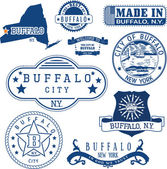 Buffalo New York Set of stamps and signs