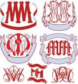 Set of MM monograms and emblem templates