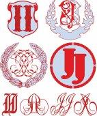 Set of II (JJ) monograms and emblem templates