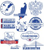 Vladivostok Russia Set of stamps and signs