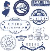 Union township NJ Set of generic stamps and signs