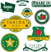 Set of generic stamps and signs of Yakima WA