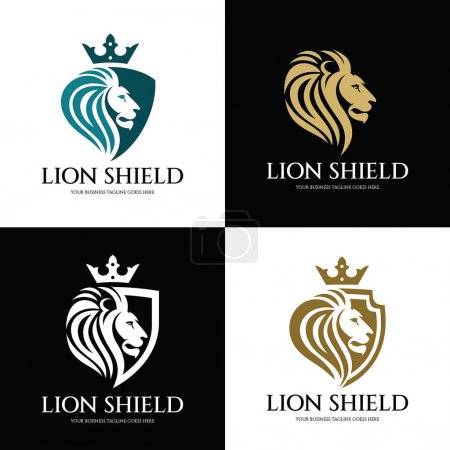 Illustration for Lion shield logo design template ,Lion head logo ,Element for the brand identity ,Vector illustration - Royalty Free Image