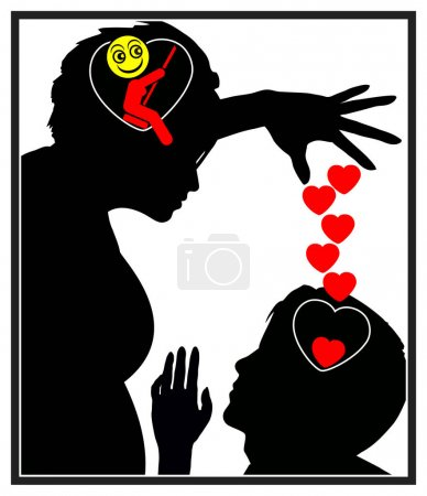Manipulative woman exploiting emotions of a lovesi...