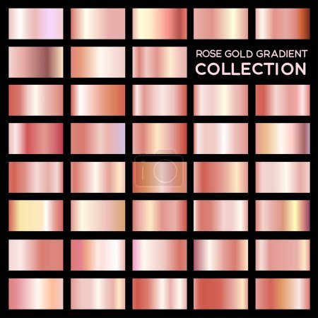 Rose gold collection gradient pour le stylisme. Illustration vectorielle Eps 10. Isolé sur fond noir