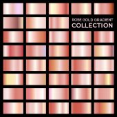 Rose gold gradient collection for fashion design Vector illustration EPS 10 Isolated on black background