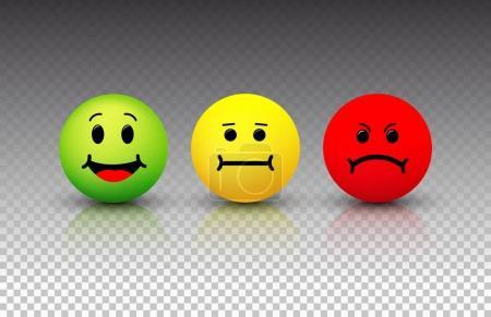 Icône souriante. Émoticônes positif, neutre et négatif. Illustration vectorielle. Isolé sur fond transparent