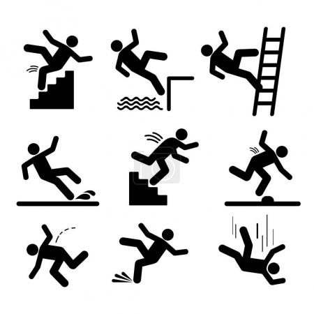 Illustration for Set of caution symbols with stick figure man falling. Falling down the stairs and over the edge. Wet floor, tripping on stairs. Workplace safety. Vector illustration. Isolated on white background - Royalty Free Image