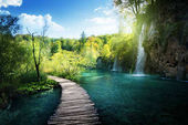 Waterfall in forest,  Plitvice, Croatia