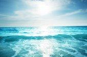 seychelles beach in sunset time, tilt shift effect