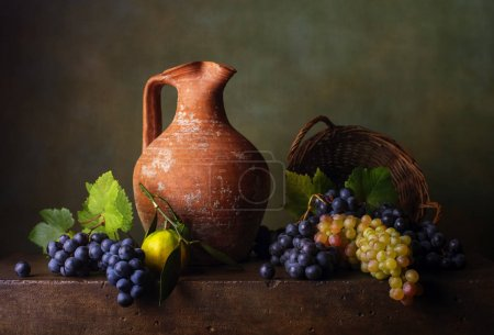 Still life with grapes in the basket and jug...