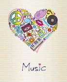 Vector illustration of music in shape of heart