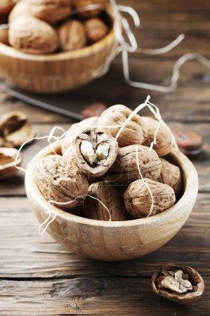 Healthy walnuts on table