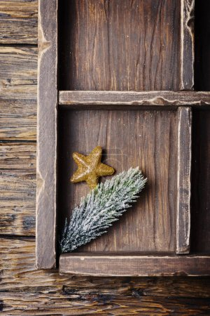 Concept of Christmas card on the wooden background, selective focus
