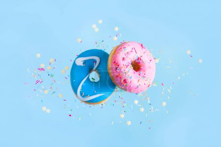 flying doughnuts on blue