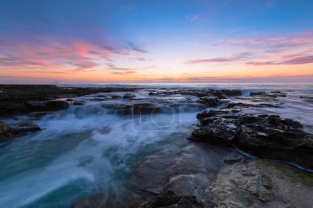 Sunrise on the Bar Beach in Newcastle NSW Australia.