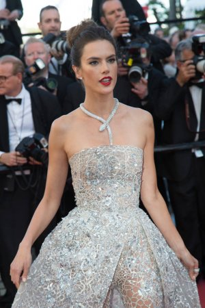 Photo for CANNES, FRANCE - MAY 20: Alessandra Ambrosio attends the 'The Last Face' premiere. 69th annual Cannes Film Festival at the Palais des Festivals on May 20, 2016 in Canne - Royalty Free Image