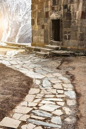 paved route to georgian orthodox temple