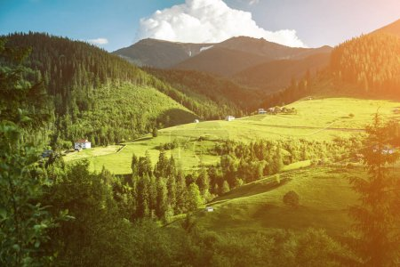 Photo for Scenic mountain landscape, summer green meadow - Royalty Free Image