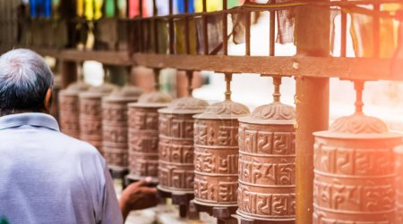 Photo for Closed up the prayer wheel at temple in Kathmandu, Nepal - Royalty Free Image