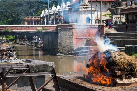 Remation ceremony at Pashupatinath temple on the B...