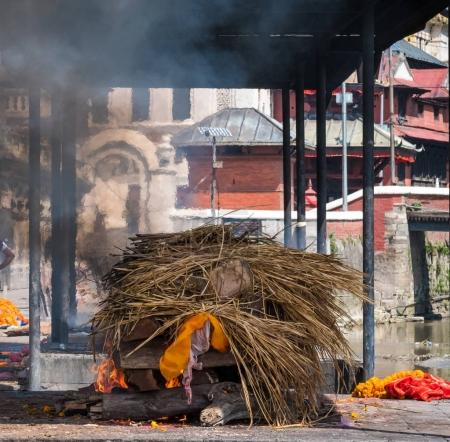 Cremation ceremony at Pashupatinath temple on the ...