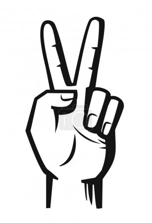 hand sign victory vector