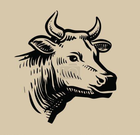 Illustration pour Vache tête noire vecteur sur fond blanc - image libre de droit