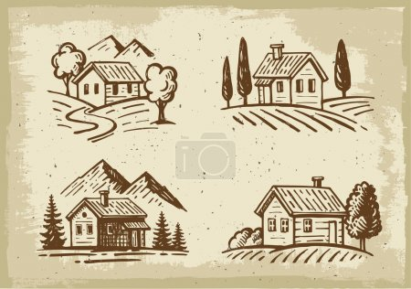 Illustration for Vector summer landscape cottage house with trees - Royalty Free Image